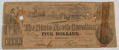 Confederate $5. State of North Carolina. January 1st 1863 Raleigh. Lot#9A