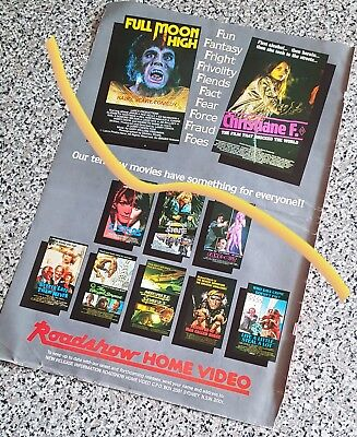 large 1983 advert for ROADSHOW HOME VIDEO + otherside Stallone ROCKY front page