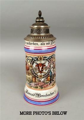 German Occupational Butcher Shop Theme Lithophane Lidded .5L Beer Stein