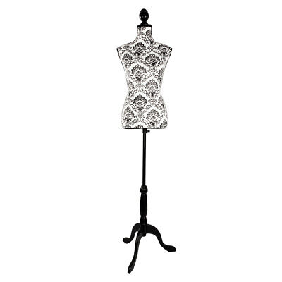 Female Mannequin Torso Wedding Clothing Foam Display Stand Black Decorative Patt
