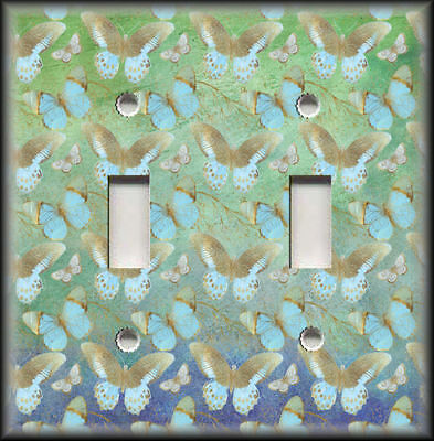 Metal Switch Plate Covers Blue And Gold Butterflies On Green Design Home Decor