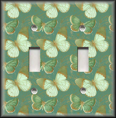 Metal Switch Plate Covers Green Gold Butterflies On Green Design Home Decor