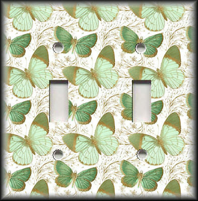 Metal Switch Plate Covers Mint Green And Gold Butterflies Design Home Decor 02