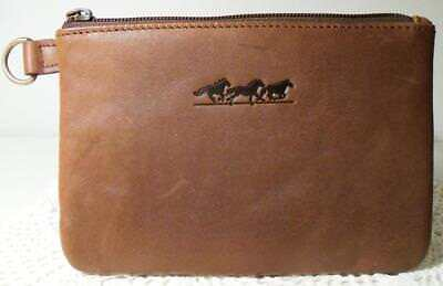 "Soft Brown Leather Slim Zipper Top Pouch/Case~Running Horses Design~7.25""x5.25"""