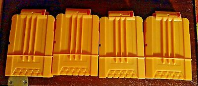 Lot of 4 Nerf Soft Dart Gun 6 Round Magazine Clips - Solid Yellow - Genuine Toy