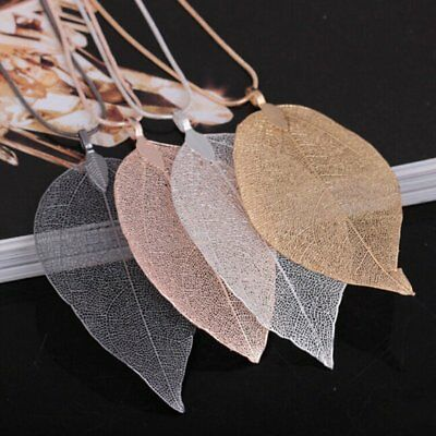 Charm Women Special True Leaves Leaf Pendant Necklace Sweater Long Chain Jewelry