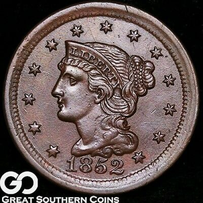 1852 Large Cent, Braided Hair, Nice Choice BU++ Early Copper!