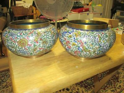 Superb Pair Of Highly Detailed Antique Cloisonne Vases Flower Design