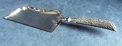 "SUPERB Large 12"" ~ SILVER Plate & ANTLER Horn ~ Crumb SCOOP ~ c1900"