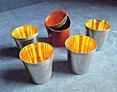 SUPERB Set of 4 ~ SILVER Plate & GILT ~ Tot CUPS in LEATHER Holder
