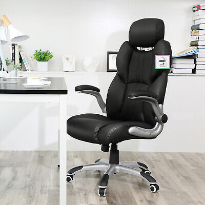 Office Chair Swivel Ergonomic Chair Foldable Armrests Computer Chair OBG65BK