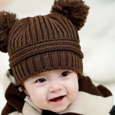 07d7c5a1665 Cute Baby Kids Girl Boy Dual Balls Warm Winter Knitted Cap Hat Beanie  Coffee US