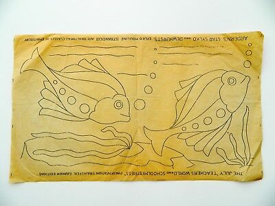 Fish ~ Cushion Panel ~ Vintage 1940s Embroidery Transfer Sewing Pattern 28