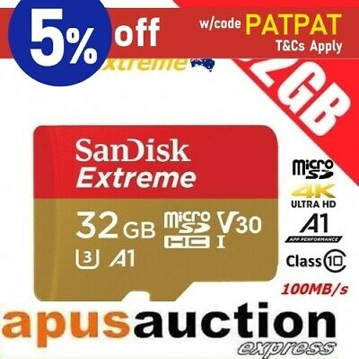 SanDisk 32GB Extreme micro SD SDHC Memory Card 100MB/s V30 A1 4K Ultra HD Camera