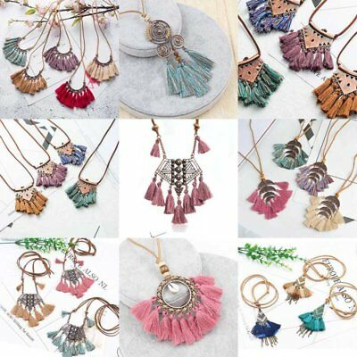 Fashion Tassel Pendant Necklace Sweater Long Boho Leather Rope Jewelry Fabric