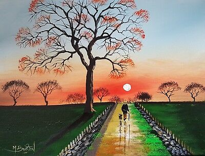 Mal.burton Original Art Oil Painting     The Tree Path     Walking Dog