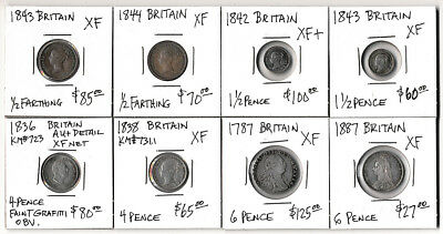 (1787-1887) EIGHT BRITISH HALF FARTHINGS to SIX PENCE CV $600+ (EXCLNT LOT) NoRs