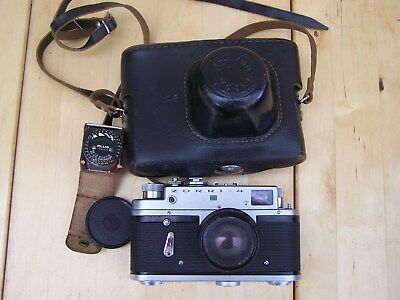 Vintage ZORKI-4 Russian 35 MM Camera with case and Jupiter 8-2/50 Lense