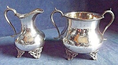 SUPERB ~ SILVER Plated ~ Garter ENGRAVED ~ Cream JUG & SUGAR Bowl ~ c1890