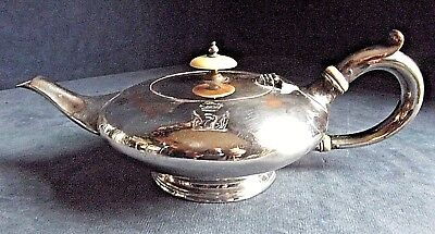 GOOD ~ GEORGIAN ~ Family CRESTED ~ Sheffield SILVER Plate ~ Squat TEAPOT ~ c1800