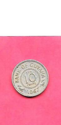 Guyana Km33 1967 Vf-Very Fine-Nice Old Vintage 10 Cents Coin