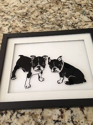 Reverse Painted Silhouette by Artist, Boston Terriers