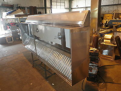10 FT. TYPE l COMMERCIAL KITCHEN RESTAURANT EXHAUST HOOD W / BLOWERS  /  M U AIR