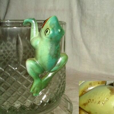 rare 1948-1952  OCCUPIED JAPAN FISH BOWL CLIMBER/HANGER FROG decoration nos