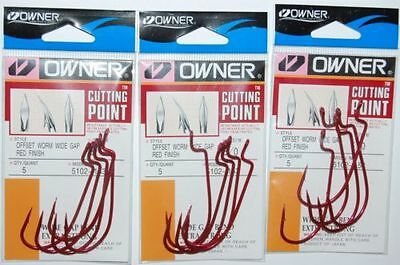 owner cutting point offset worm wide gap 1//0 5102-113 6 pr pk red hook