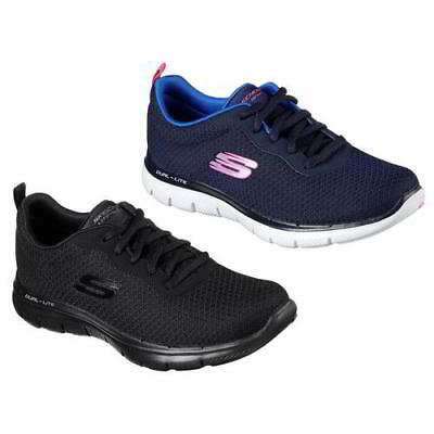 Skechers Flex Appeal 2.0 Womens Ladies All Black Trainers Running Shoes Size 4-8