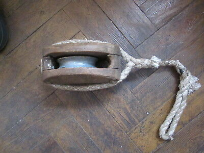 Vintage Single Wooden Boats Pulley/marine/maritime