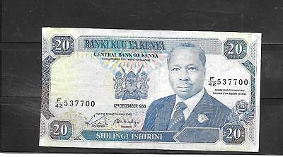 KENYA #25a 1988 FINE CIRC 20 NAIRA OLD BANKNOTE PAPER MONEY CURRENCY BILL NOTE