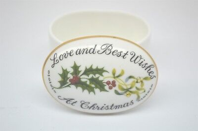 Crown Staffordshire Love and Best Wishes at Christmas Trinket Box EUC
