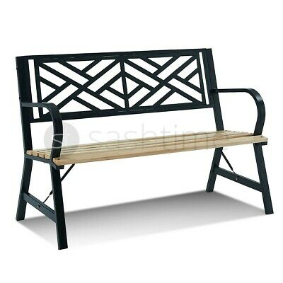 3 Seater Cast Iron Garden Outdoor W Cross Line Back Park Bench Seat Furniture