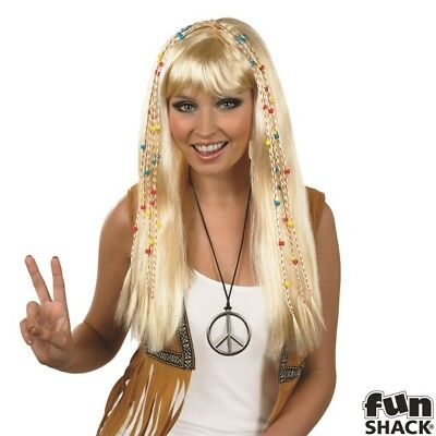 Ladies Braided Hippie Wig for 60s 70s Hippy Fancy Dress Accessory IN: BLONDE