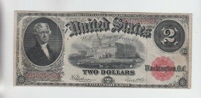 Legal Tender $2 1917 fine hard fold and stain