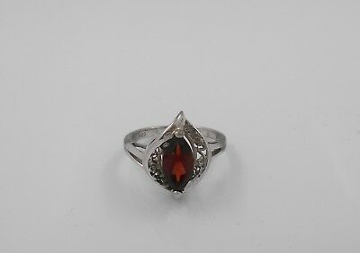 """Vintage Silver .925 Marked Ring Size 5 RJ With Brownish Red Stone Setting 5/8"""""""