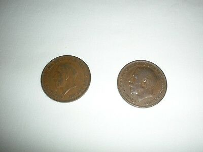 Uk Great Britain One Penny Coins (2), 1922 & 1935 King Georges V, Bronze