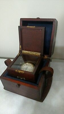 Antique Waltham USA Deck Clock w/ Brass Gimbels & 2 Wooden Boxes 8 Day