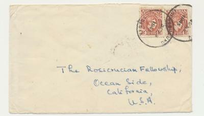 NIGERIA -USA 1945 COVER, UBULUKU TO OCEANSIDE, 2x1½d RATE (SEE BELOW
