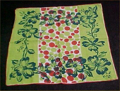 Vintage Antique Hankie Handkerchief Printed RED Green Polka Dot Floral Estate