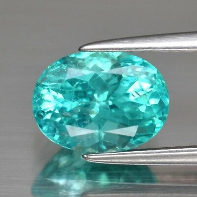 2.03ct 8.8x6.6mm Oval Natural Unheated Paraiba-Color Neon Blue Apatite