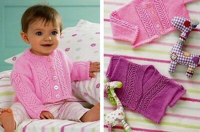 James C Brett Baby Cardigans Supreme Baby 4PLY Yarn Knitting Pattern JB123