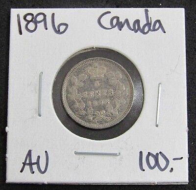1896 Canada AU Five Cent Silver Coin