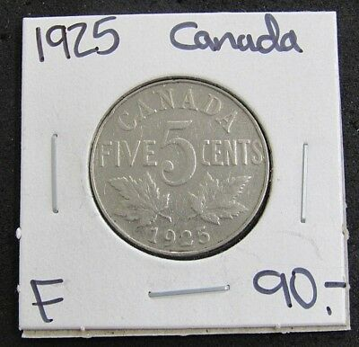 1925 Canada F Five Cent Nickel Coin