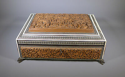 Fine Large Antique Anglo Indian Vizagapatam Carved Sandalwood Sewing Work Box