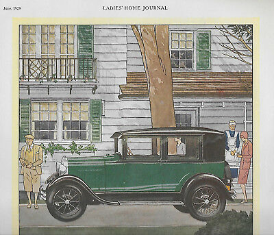 Rare 1929 Ford Car Full-Color Full-Page Magazine Ad; Excellent Condition!