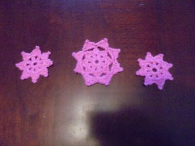 "Dollhouse Miniature Crochet Doilies 3 Cottage Pink 1.75"" & 2"" Thread"