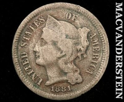 1881 Three Cent Nickel-Scarce Better Date!! #a8627