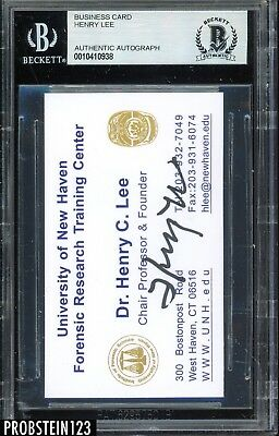 Henry C. Lee Forensic Scientist Signed Business Card AUTO Autograph BGS BAS